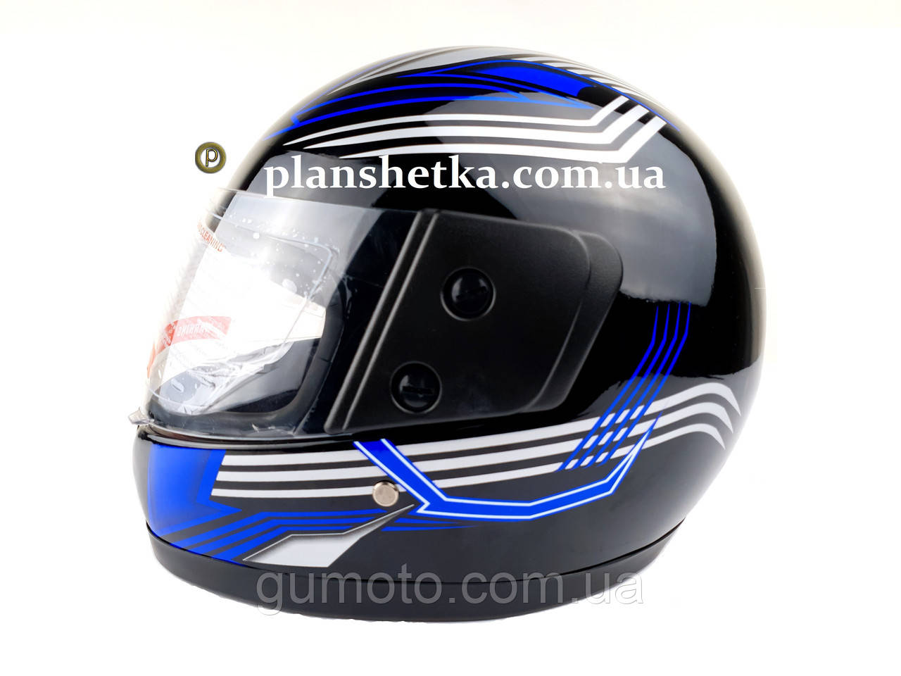 Шлем для мотоцикла F2 черный глянец с синей полосой (model 502)
