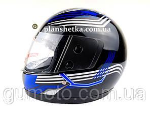 Шлем для мотоцикла F2 черный глянец с синей полосой (model 502), фото 2