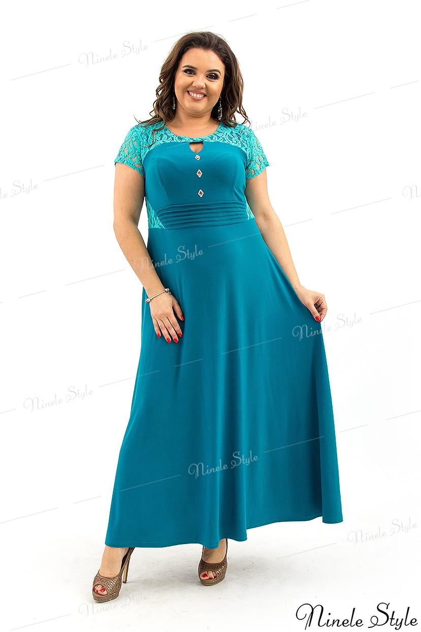 Нежно-бирюзовое гипюровое длинное женское платье 127-1 54
