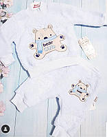 Голубой махровый костюм Мишка унисекс 68(3-6мес.)(р) весна-осень 00140
