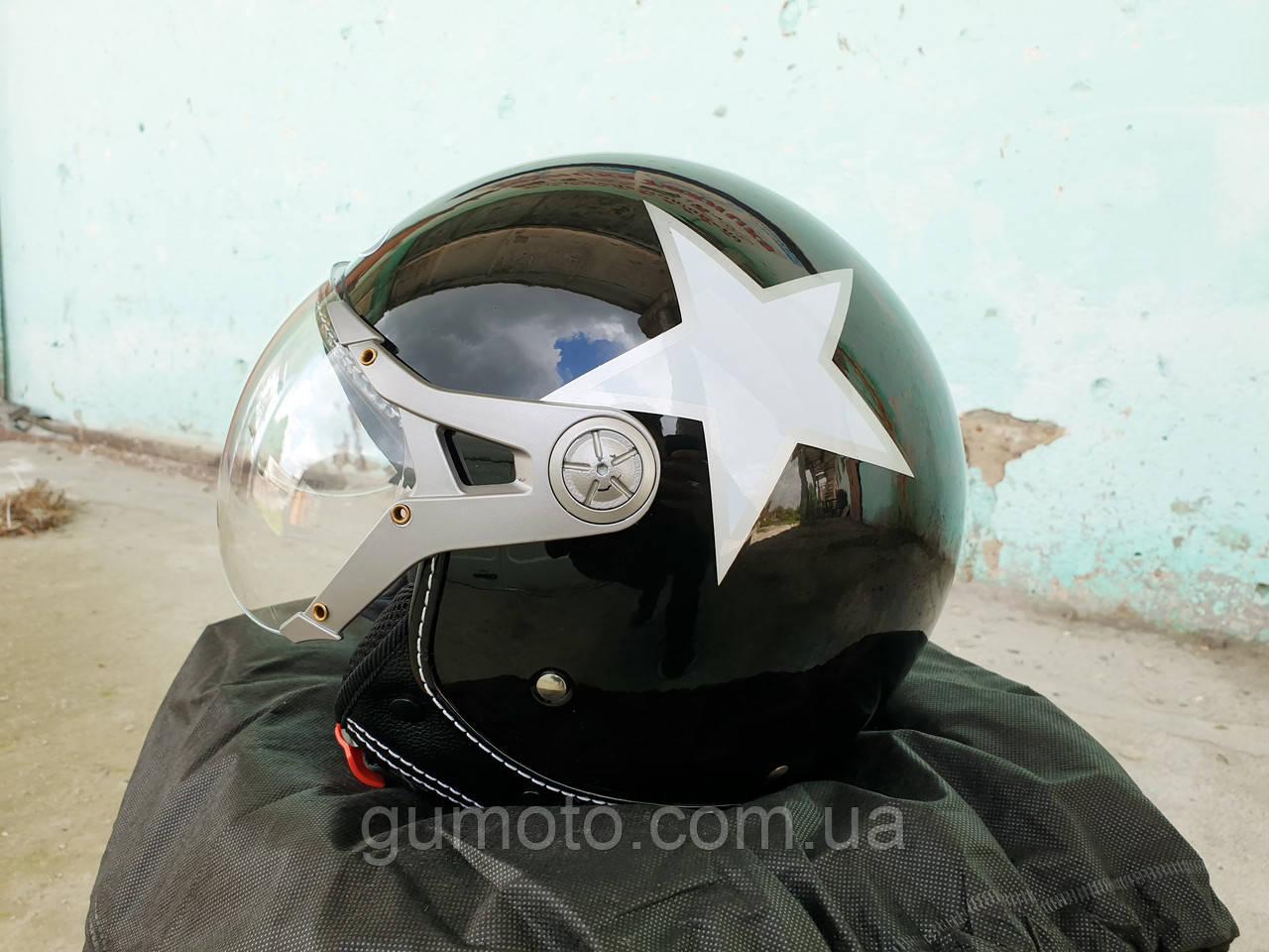 Мотошлем FXW HF-225 черный со звездой