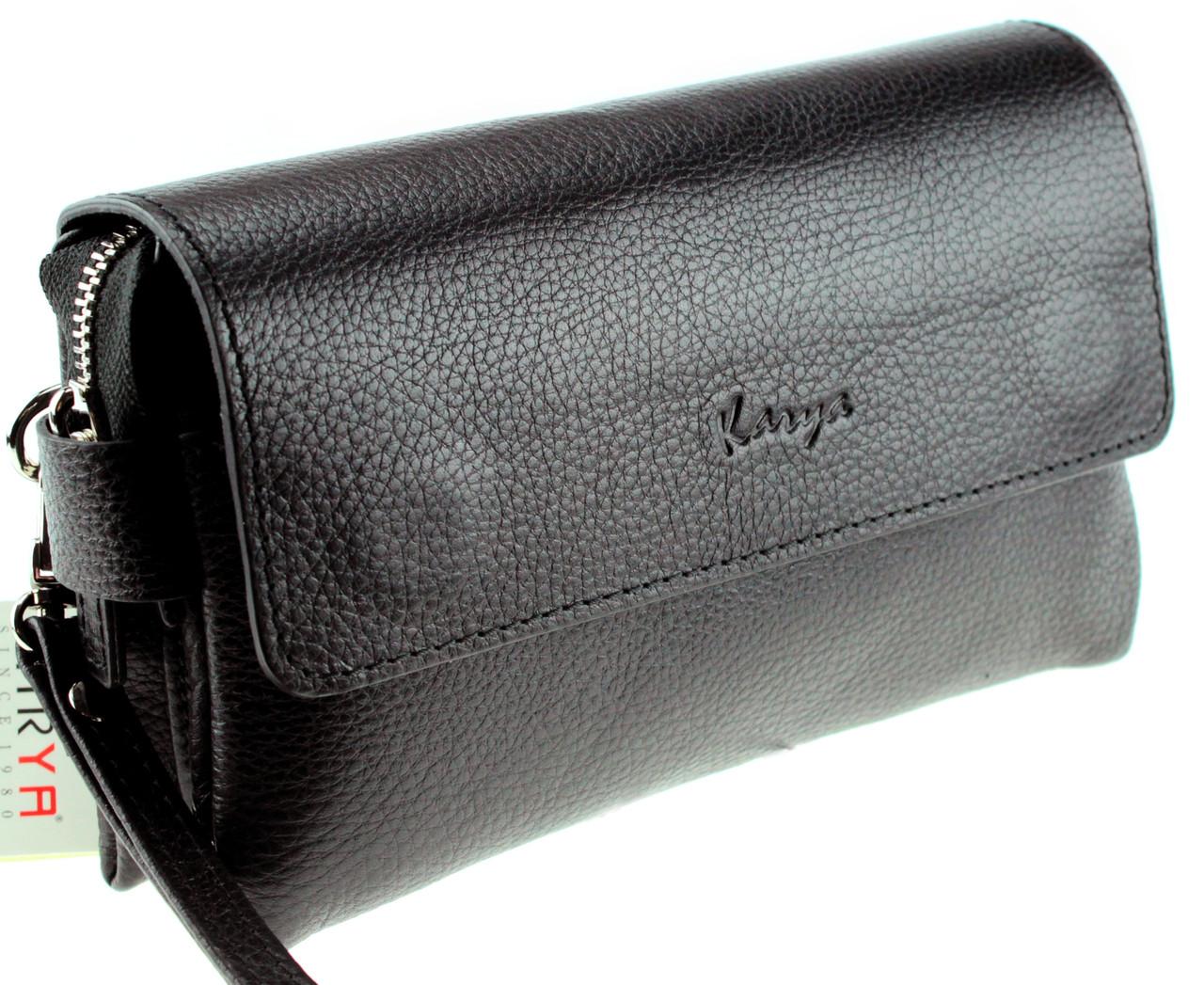 Мужской кожаный клатч барсетка Karya 0817-45 черный