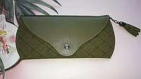 Женский кошелек-чехол для очков, темно-зеленый, фото 1
