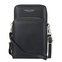 Женский кошелек Baellerry N0102 Black вертикальный на ремешке сумка-клатч для женщин и девушек