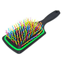 Массажная расческа YRE 8586 черная с зеленым (цветной пластиковый зуб)