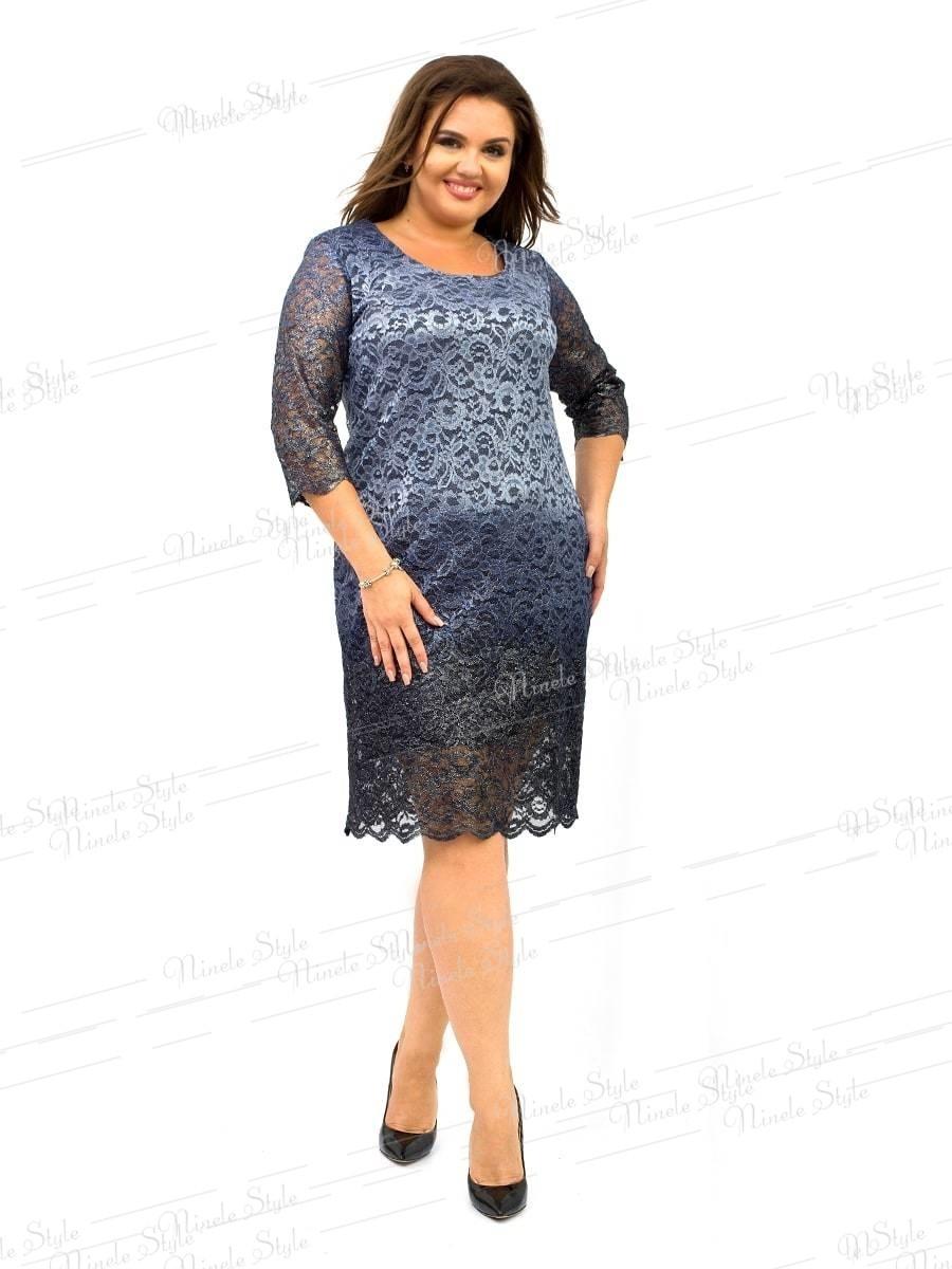 Платье женское гипюр с фойлом серое 249  54