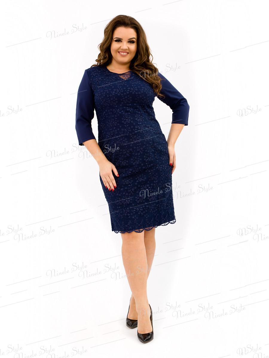 Великолепное нарядное синее женское платье  334-4 54