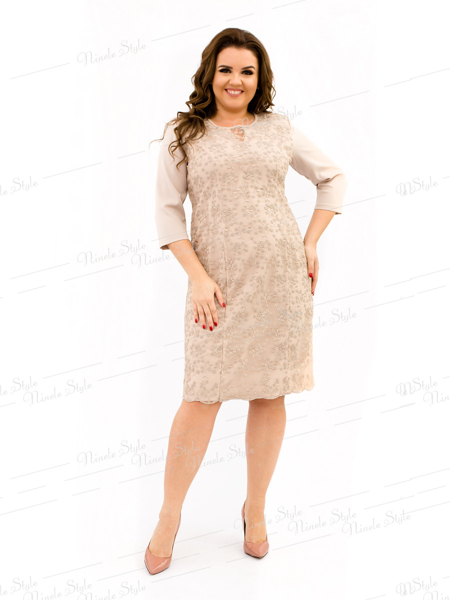 Великолепное нарядное бежевое женское платье  334-5 54