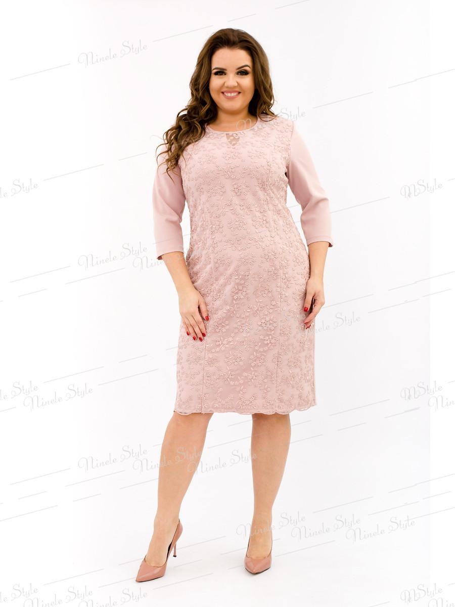 Великолепное нарядное розовое женское платье  334-6 54