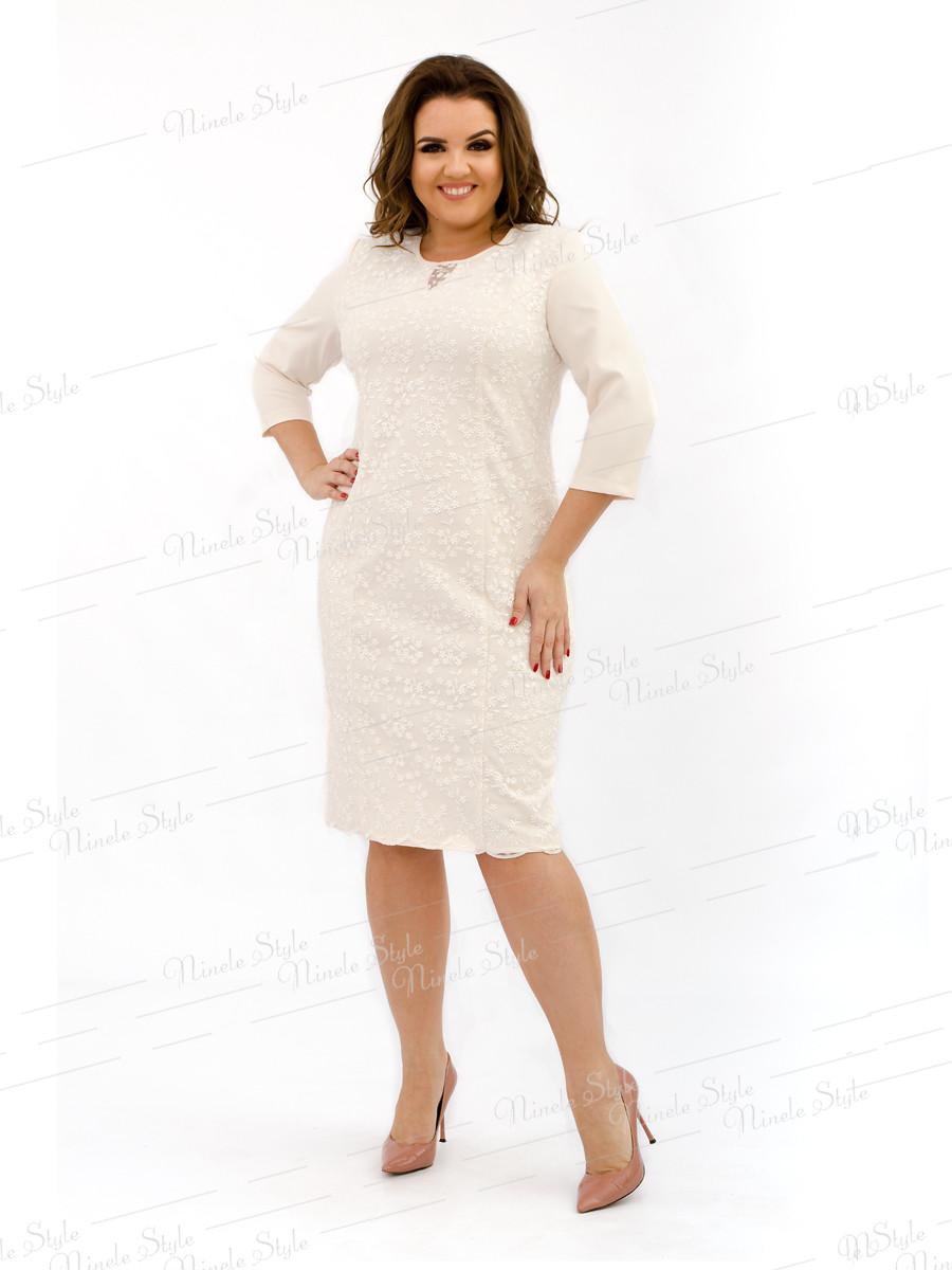 Великолепное нарядное  молочное  женское платье  334-7 54