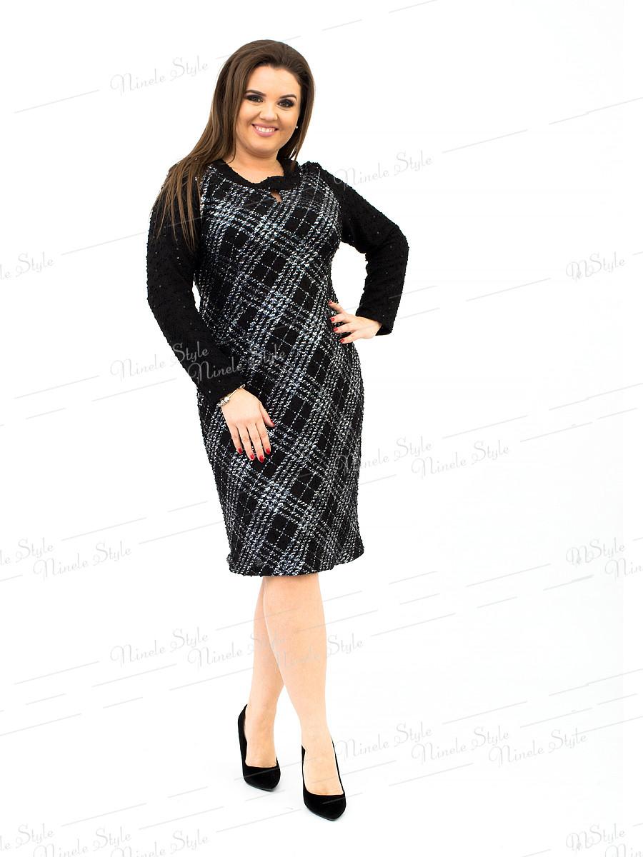 Трикотажное деловое  черное женское платье 342 54