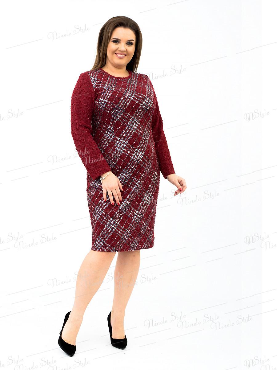 Трикотажное деловое женское платье   бордо  342-2 54
