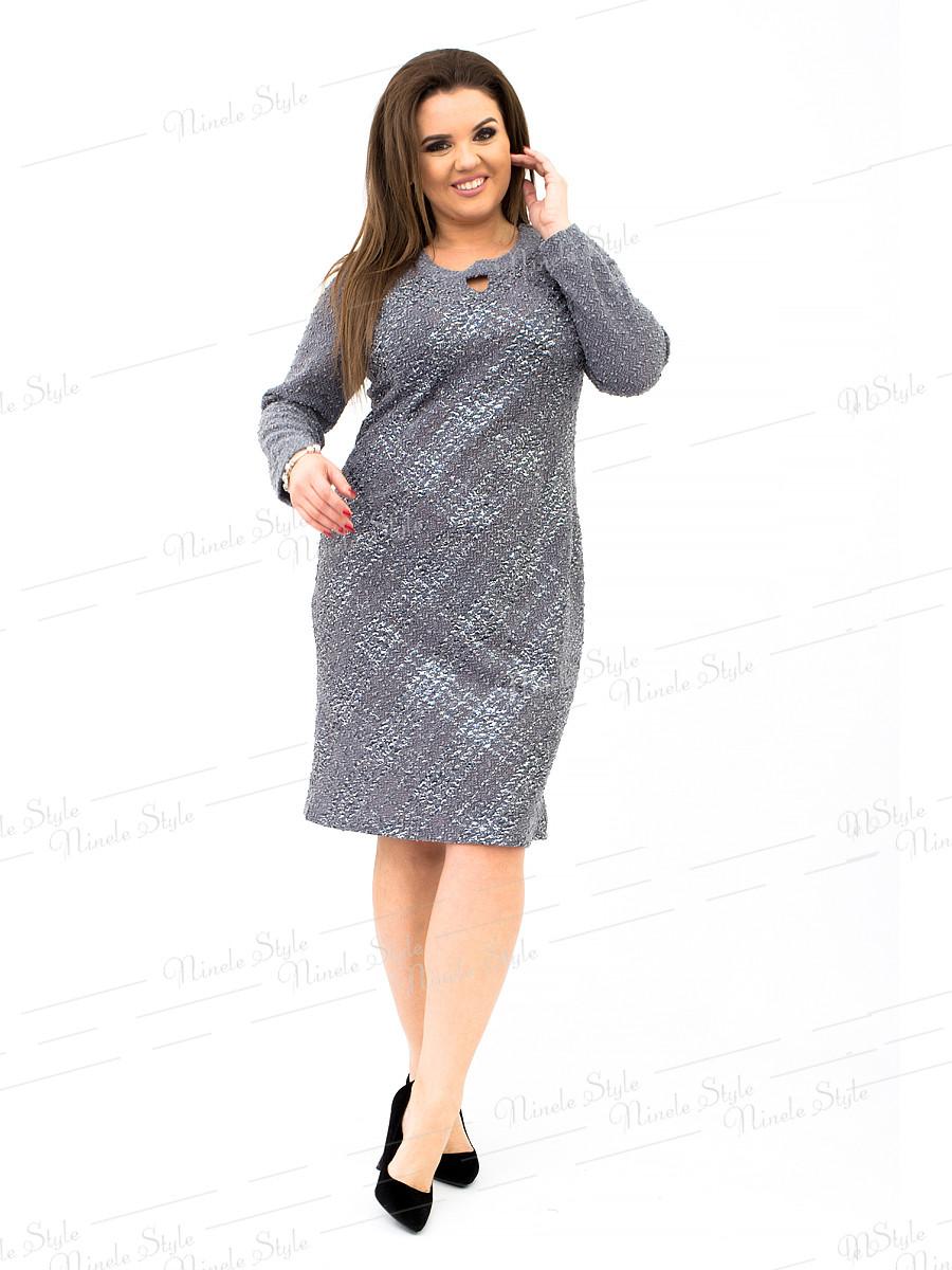 Трикотажное деловое женское платье серое 342-4 54