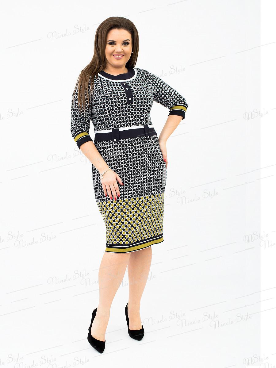 Трикотажное женское платье в горох хаки 232 54