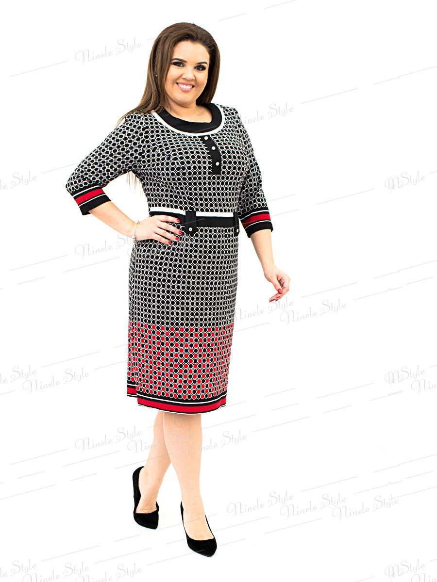 Трикотажное женское платье в горох красное 232-2 54