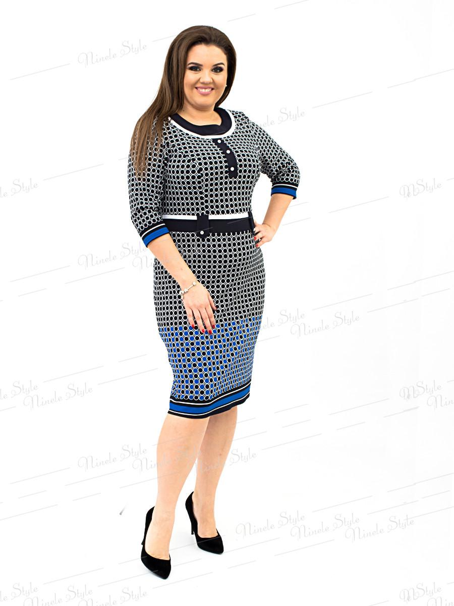 Трикотажное женское платье в горох сине 232-3 54