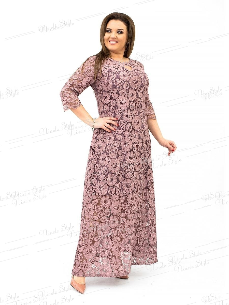 Гипюровое вечернее женское платье с цветочным принтом  розовое 237-3 54
