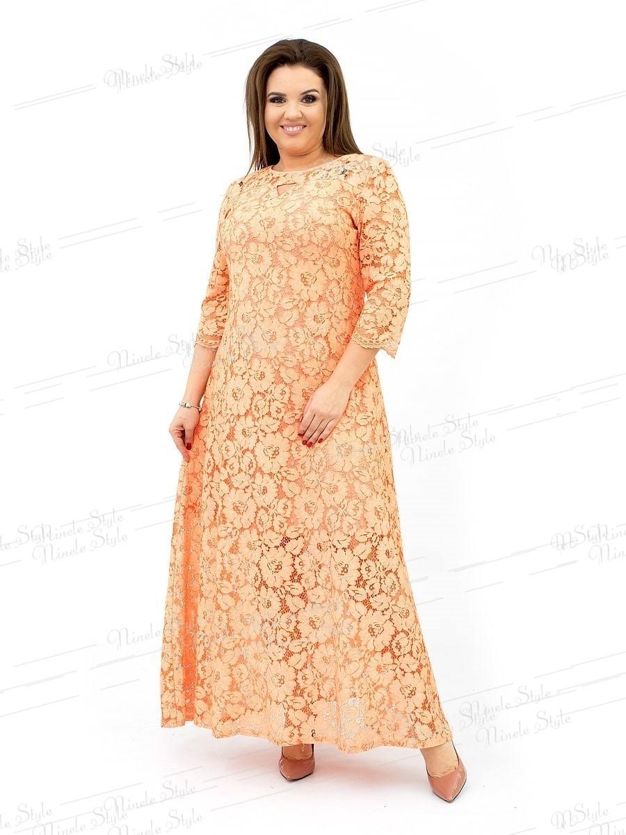 Гипюровое вечернее женское платье с цветочным принтом - персиковое 237 54