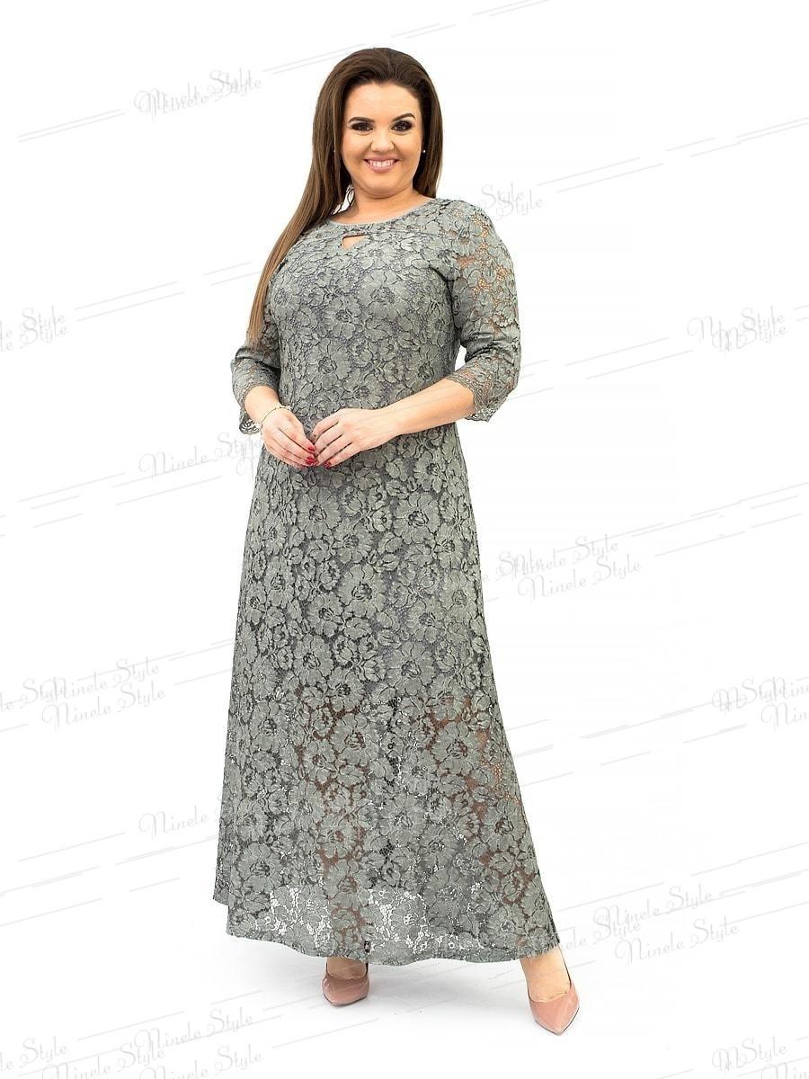 Гипюровое вечернее женское платье с цветочным принтом - серое 237-5 54