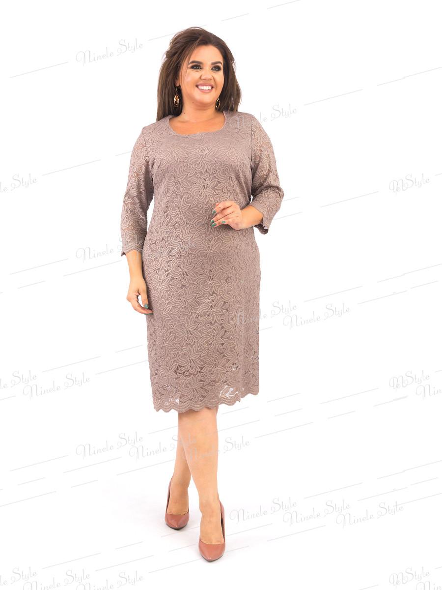 Гипюровое нарядное женское платье бежевое 371 54