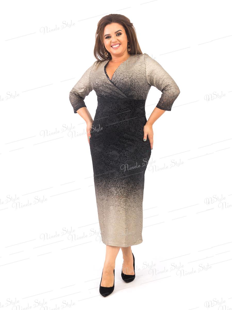 Гипюровое женское платье на запах черное золото 372-2 54