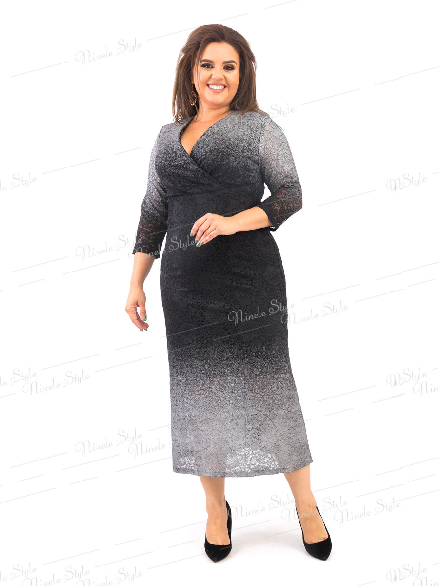 Гипюровое женское платье на запах  черное серебро 372-3 54