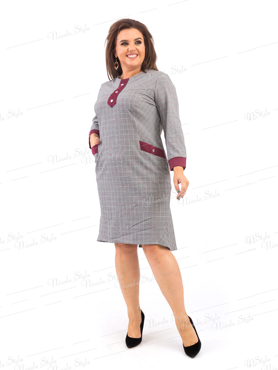 Повседневное женское платье в клетку  374-1 54
