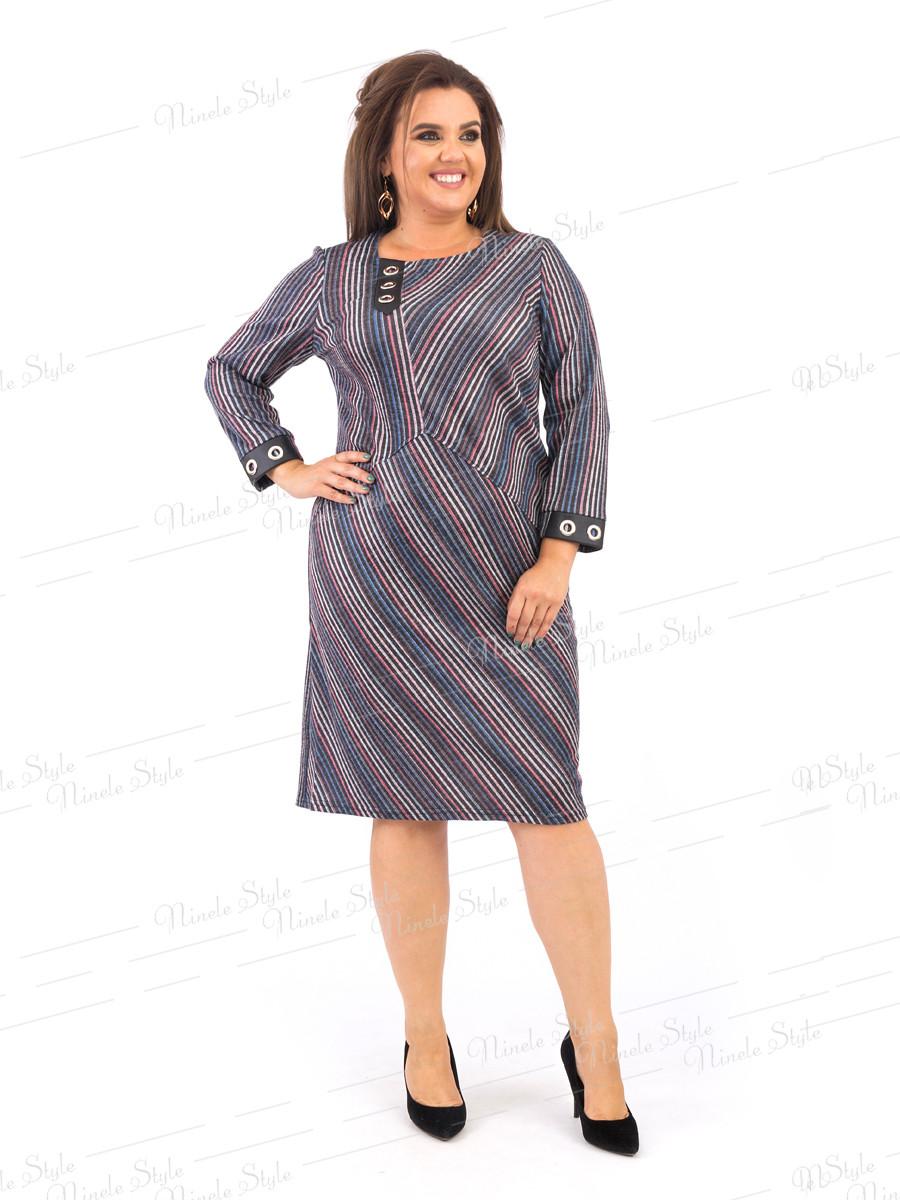Трикотажное женское платье в полоску 381 54