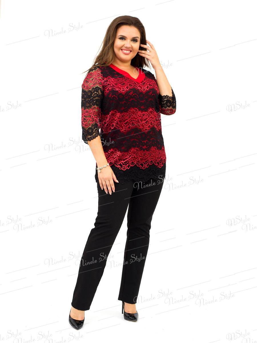 Брючный костюм двойка женский с гипюровой туникой  310-3 54