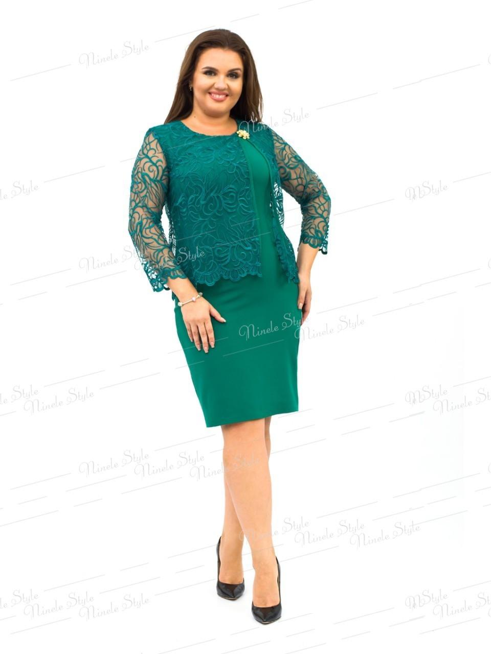 Зеленое нарядное женское платье с накидкой  247-1 54