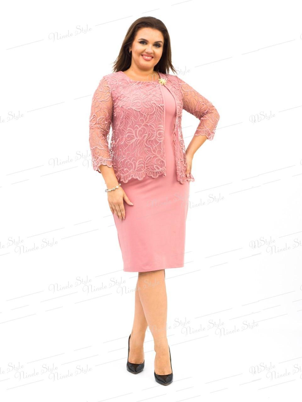 Розовое нарядное женское платье с накидкой 247 54