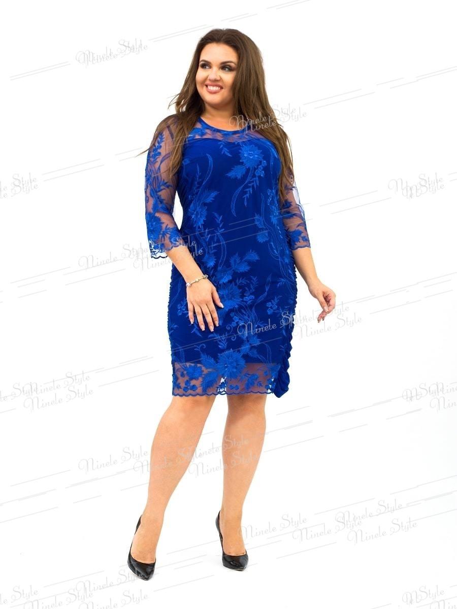 """Нежное синее женское платье """"Кристалл"""" украшенное сеткой с вышивкой 236-4 54"""