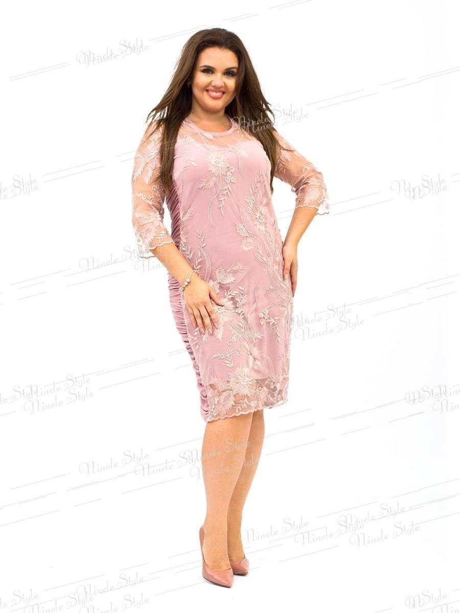 """Нежное розовое женское платье """"Кристалл"""" украшенное сеткой с вышивкой 236 54"""