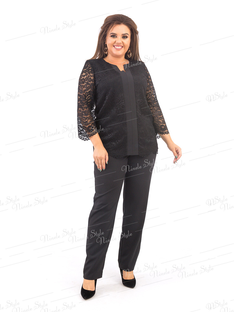 Брючный костюм двойка женский черный 376 54
