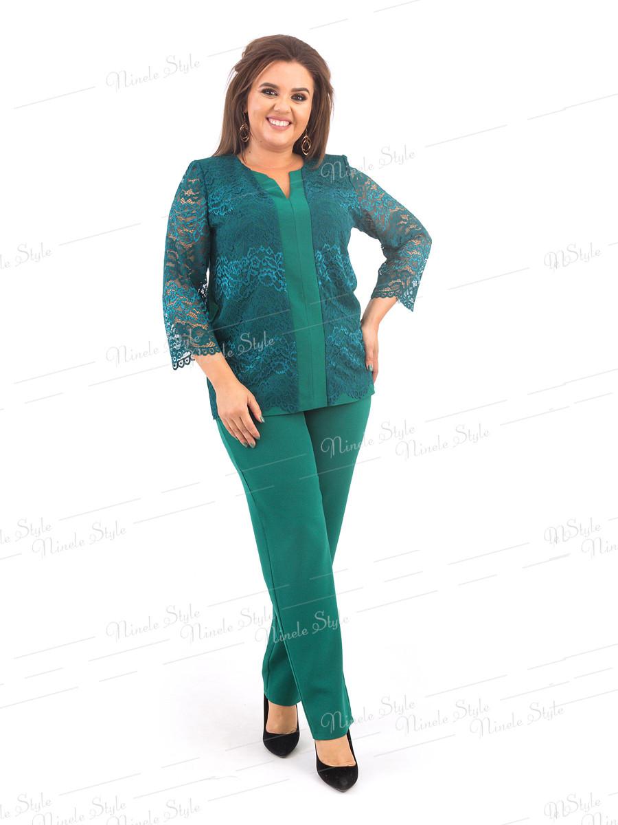 Костюм брючный двойка женский  зеленого цвета  376-4 54