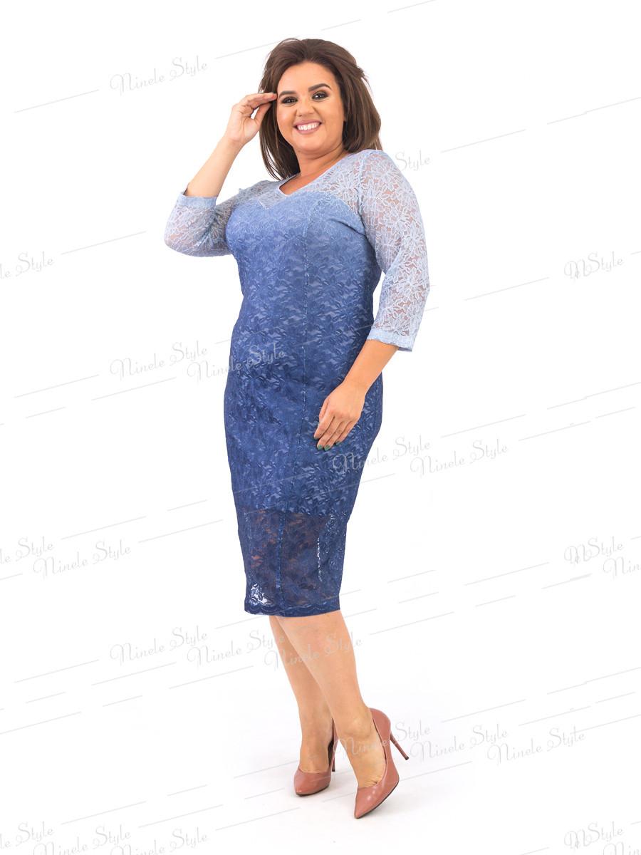 Романтическое гипюровое женское платье синего цвета 383-1 54