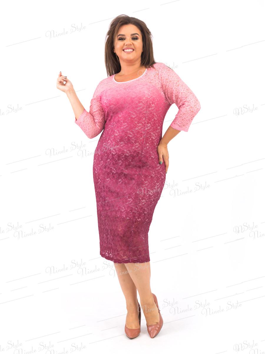 Романтическое гипюровое женское платье бордового цвета 383-2 54