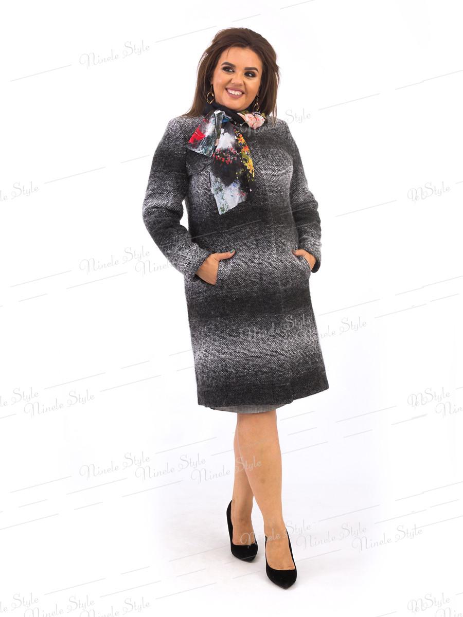 Элегантное серое женское пальто  384-1 54