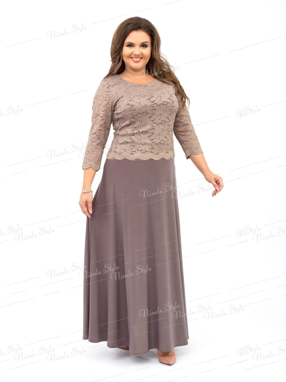 Нарядное вечернее бежевое женское платье  316 56