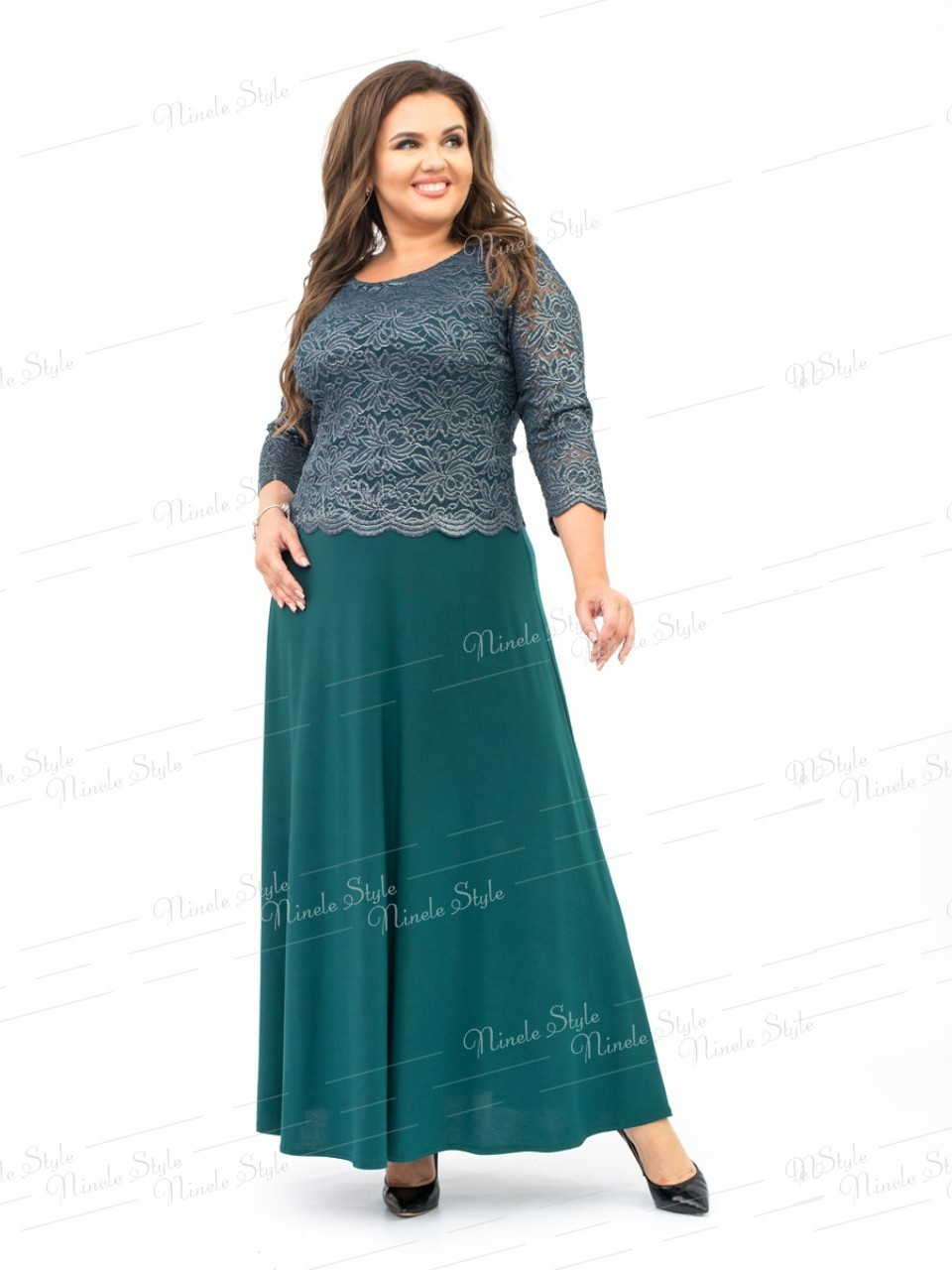 Нарядное вечернее зеленое женское платье модель 316-1 56