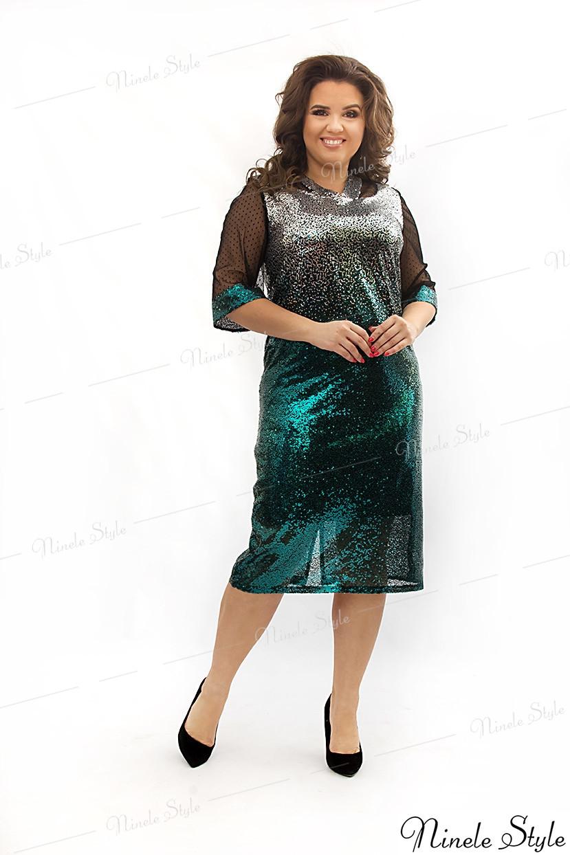 """Блестящее зеленое женское платье """"STAR"""" 346-1 54"""