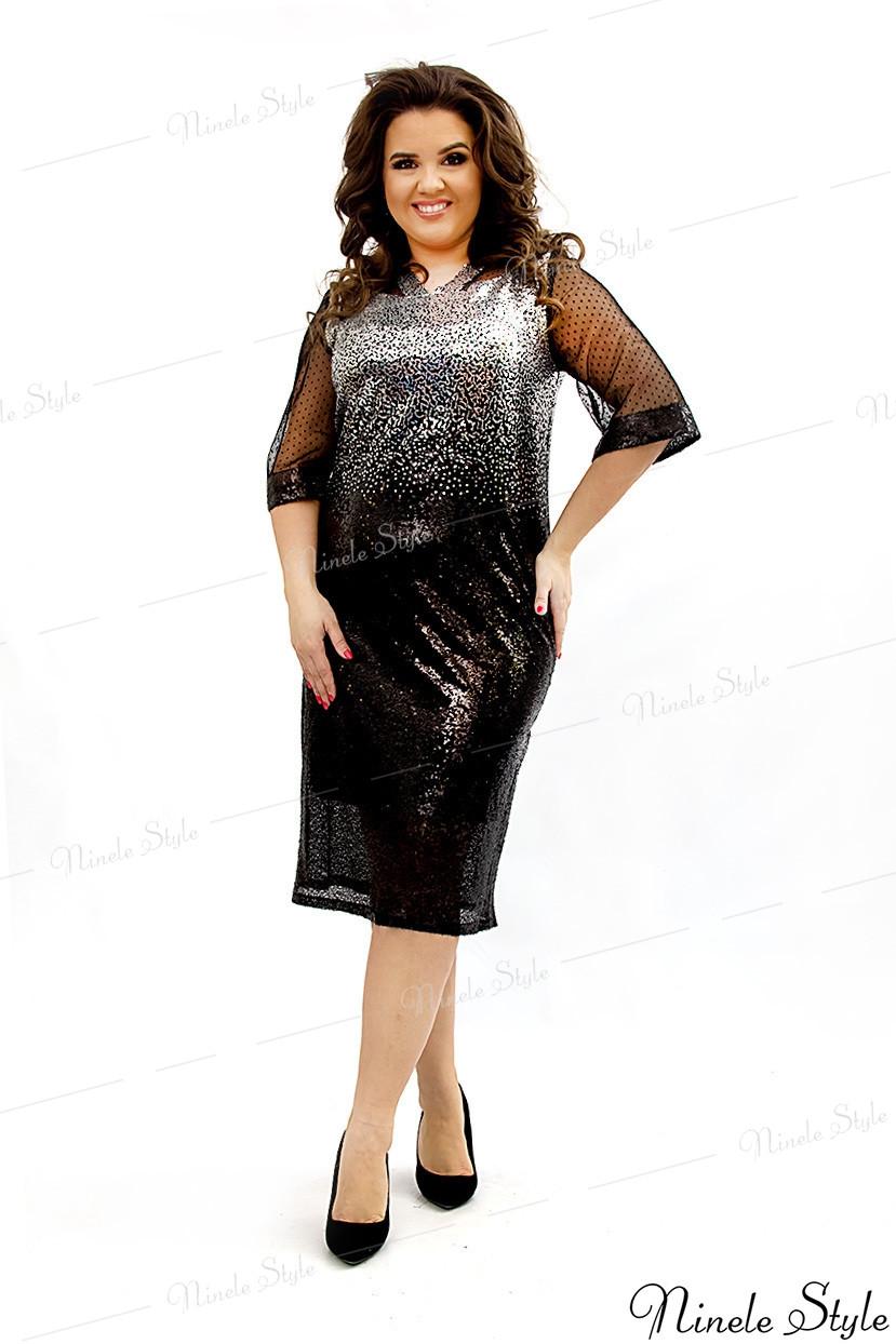 """Блестящее черное женское платье """"STAR""""  346-2 54"""