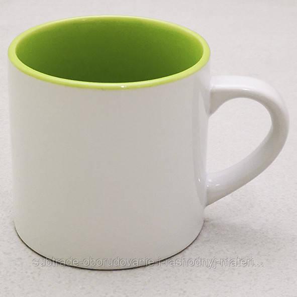 Чашка сублимационная ДЕСЕРТНАЯ цвет.внутри  САЛАТОВАЯ/150мл
