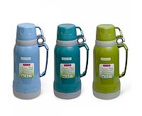 Термос 1000 мл пластиковый со стеклянной колбой (2 чашки; синий, голубой, зелёный) Kamille 2023