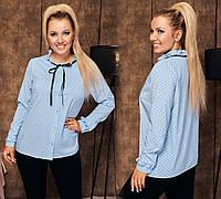 Женская блуза на пуговицах с рукавом голубая