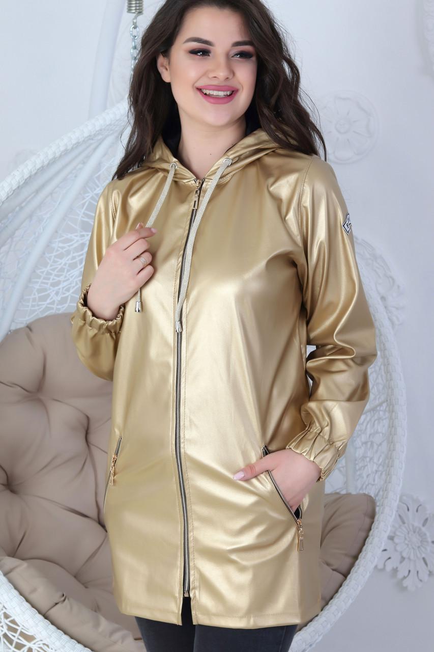 Жіноча демісезонна куртка з еко-шкіри з капюшоном на блискавці