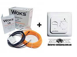 Теплый пол Woks-18 двухжильный кабель 100 Вт (6 м) 0.5 м² - 0.8 м² + механический терморегулятор RTC 70.26
