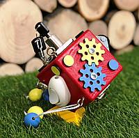 Бизикубик 8х8 см бізіборд busyboard красный бизикуб бізікубик детские деревяные игрушки Монтессори