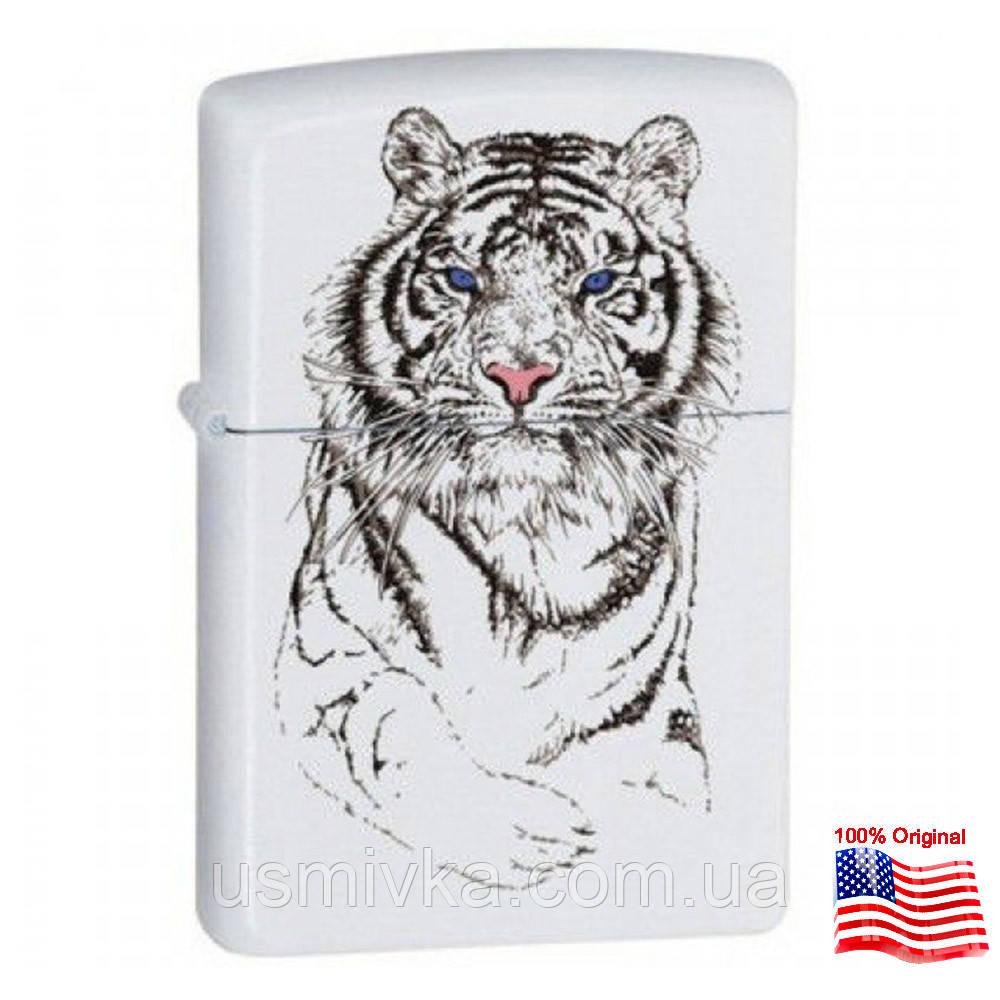 Зажигалка Zippo 24810 TIGER WHITE белая 24810