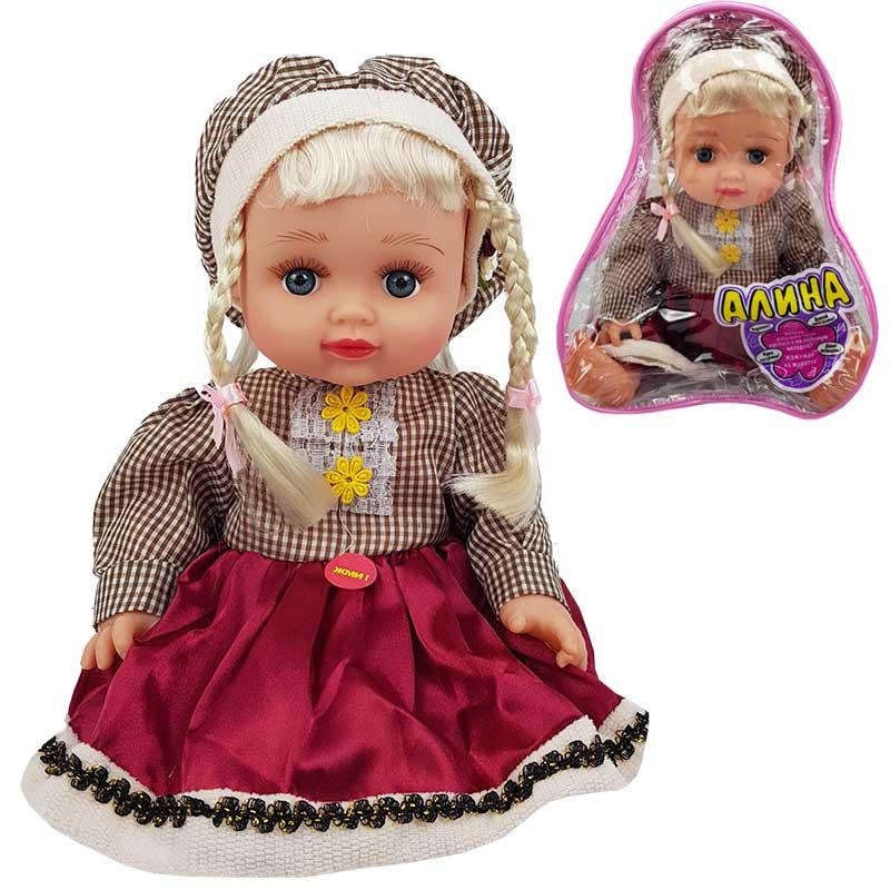Кукла Алина 5139 (в клетчатом платье) муз. на руском